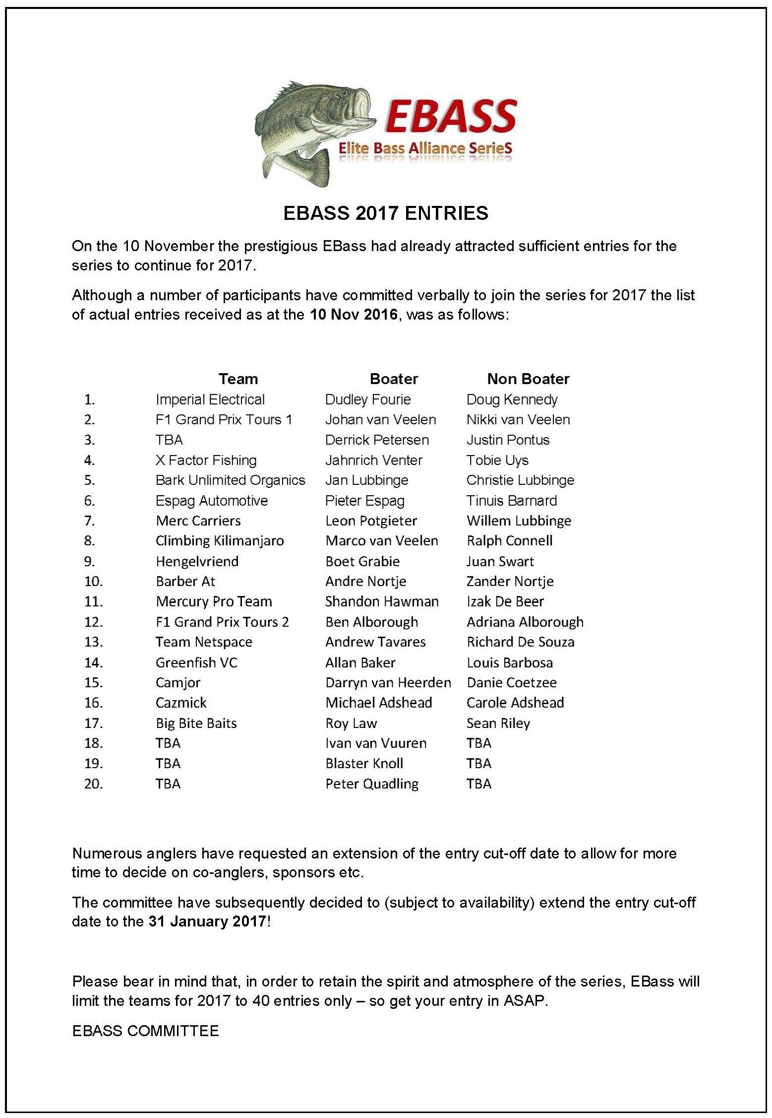 EBASS 2017 ENTRIES